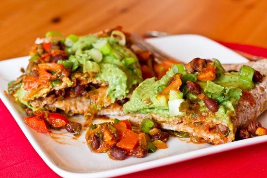 Vegan Enchiladas with Cilantro Avocado Cream Sauce from Oh She Glows