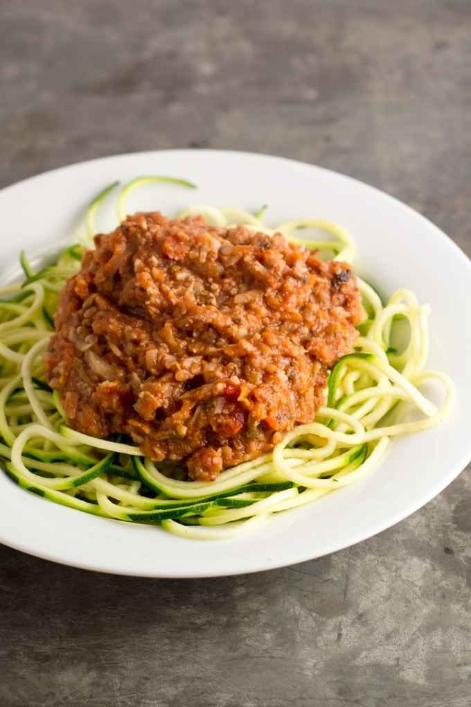 Vegetable Bolognese #vegan #zucchininoodles #zoodles | eatwithinyourmeans.com