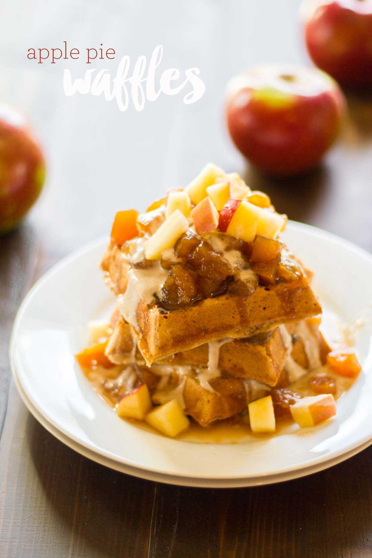 Vegan Apple Pie Waffles | https://passtheplants.com