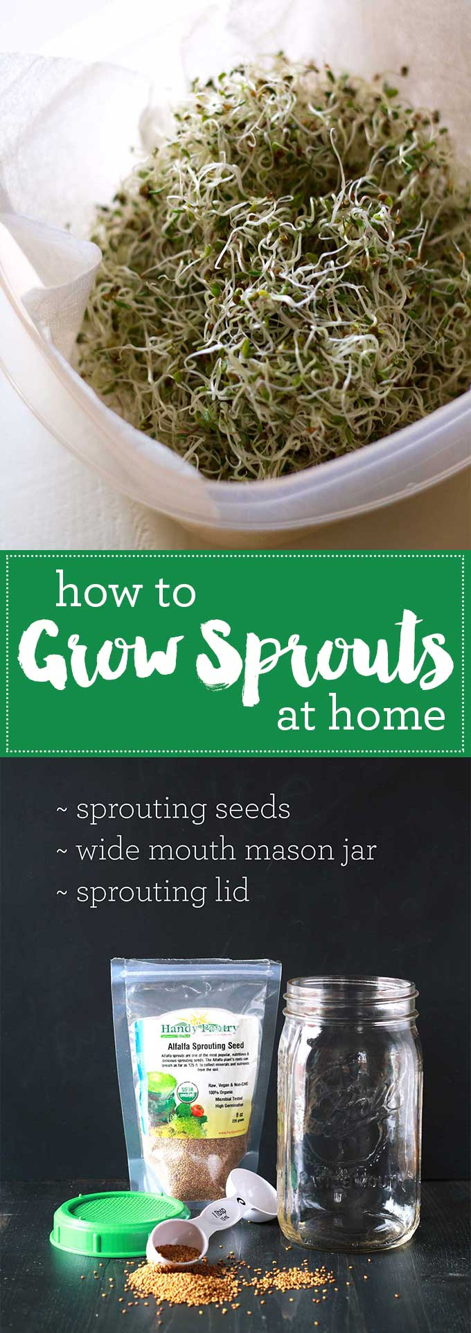 Growing sprouts at home is so easy and is huge money saver! You may never buy sprouts at the store again! | https://eatwithinyourmeans.com