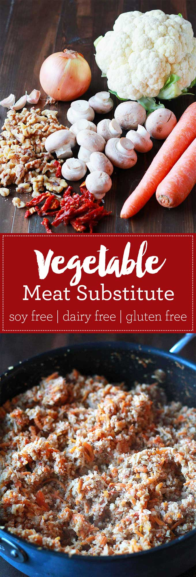 "Vegetable Meat Substitute | This substitute for ground meat is made entirely out of vegetables and nuts, yet can easily fool the ""meat and potatoes"" eater in your life! Gluten free, soy free, vegan. 