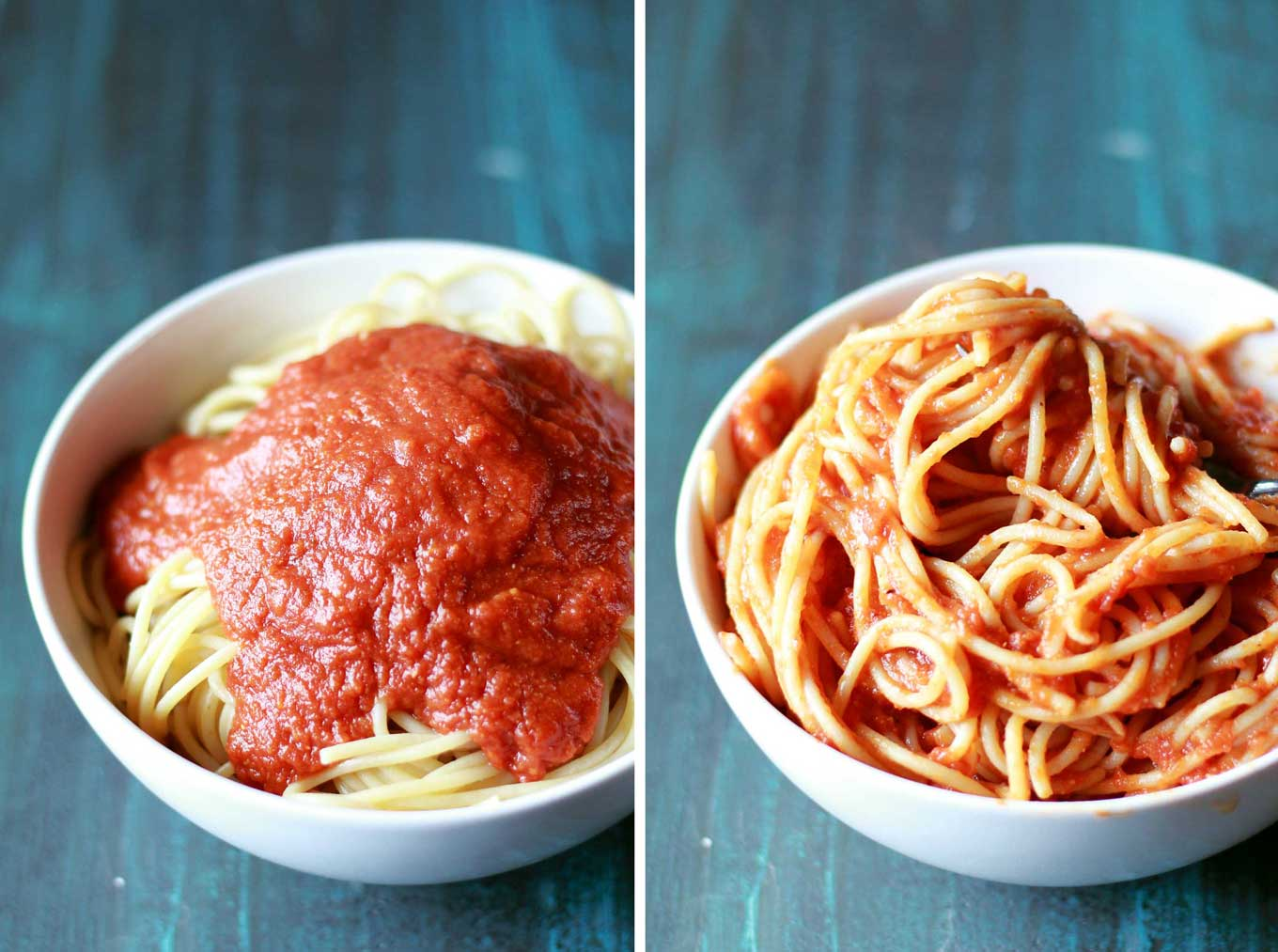 Make this protein-packed marinara sauce in your pressure cooker in 30 minutes! Vegan, gluten-free, and so healthy with veggies and lentils hidden in the sauce!   https://passtheplants.com