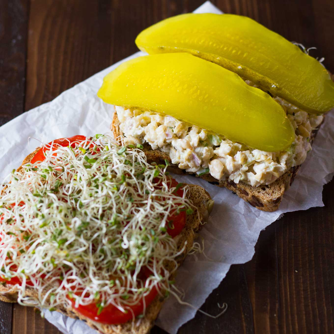 These chickpea salad sandwiches are packed with protein and fiber, and are oil-free to boot! Made with an unusual technique to keep the texture from being mushy. Vegan, oil-free. https://eatwithinyourmeans.com