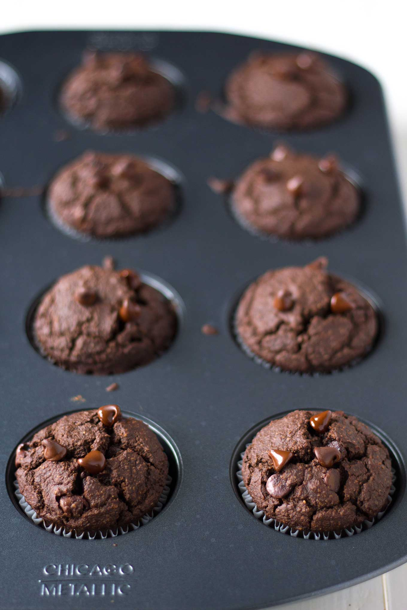 These double chocolate hazelnut muffins are vegan, gluten-free, oil-free, and super healthy, yet they taste moist and decadent! | https://eatwithinyourmeans.com