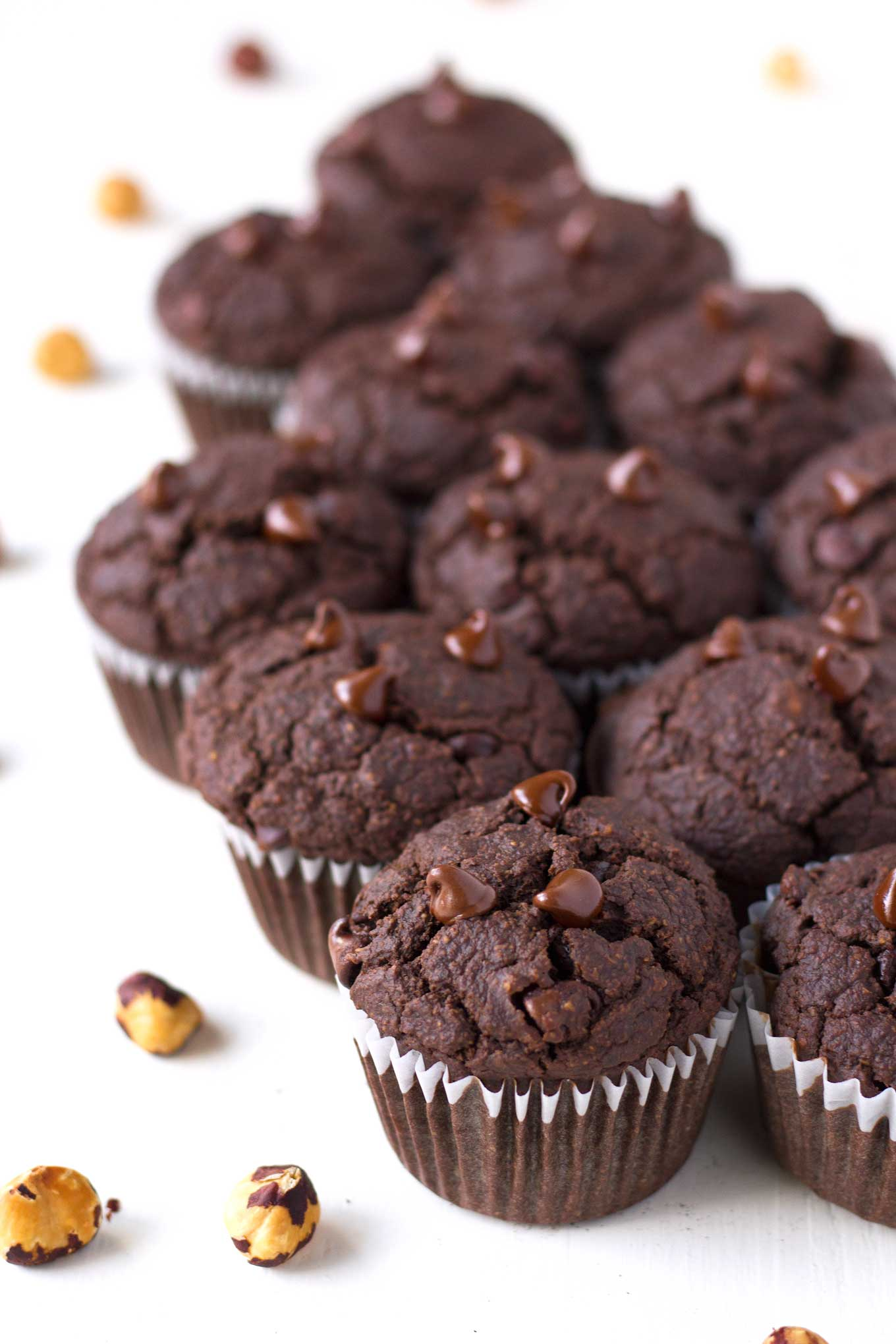 These double chocolate hazelnut muffins are vegan, gluten-free, oil-free, and super healthy, yet they taste moist and decadent! | https://passtheplants.com