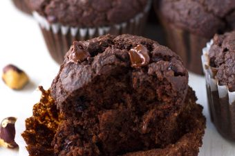 Vegan Double Chocolate Hazelnut Blender Muffins