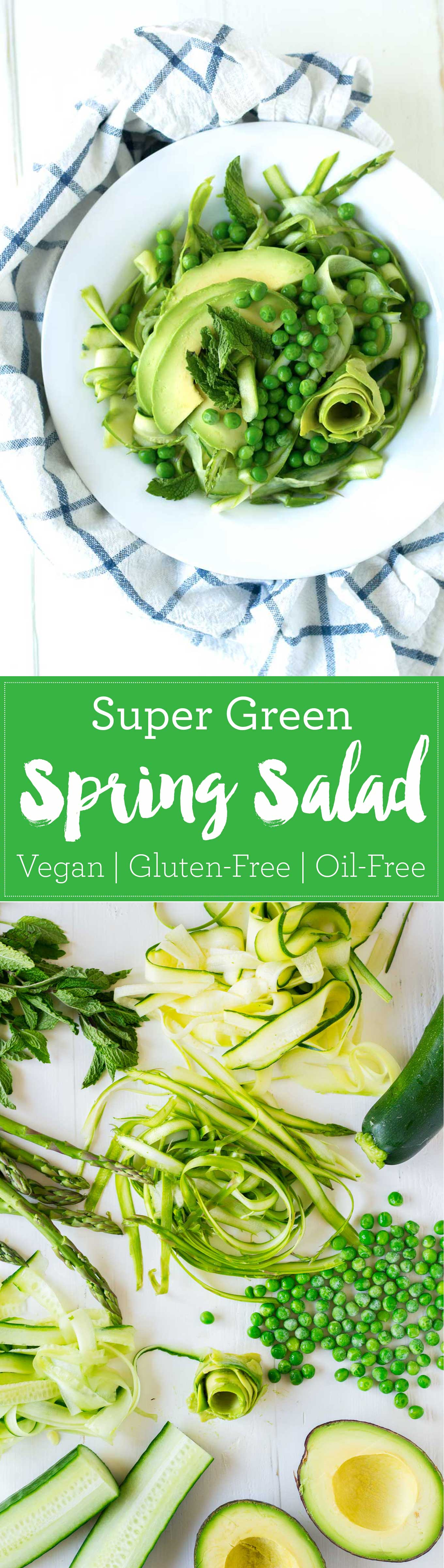 This super green spring salad is chock full of all of the green things of the season! Toss with a very simple 3-ingredient dressing and enjoy! Vegan, Gluten-Free, Oil-Free | https://eatwithinyourmeans.com
