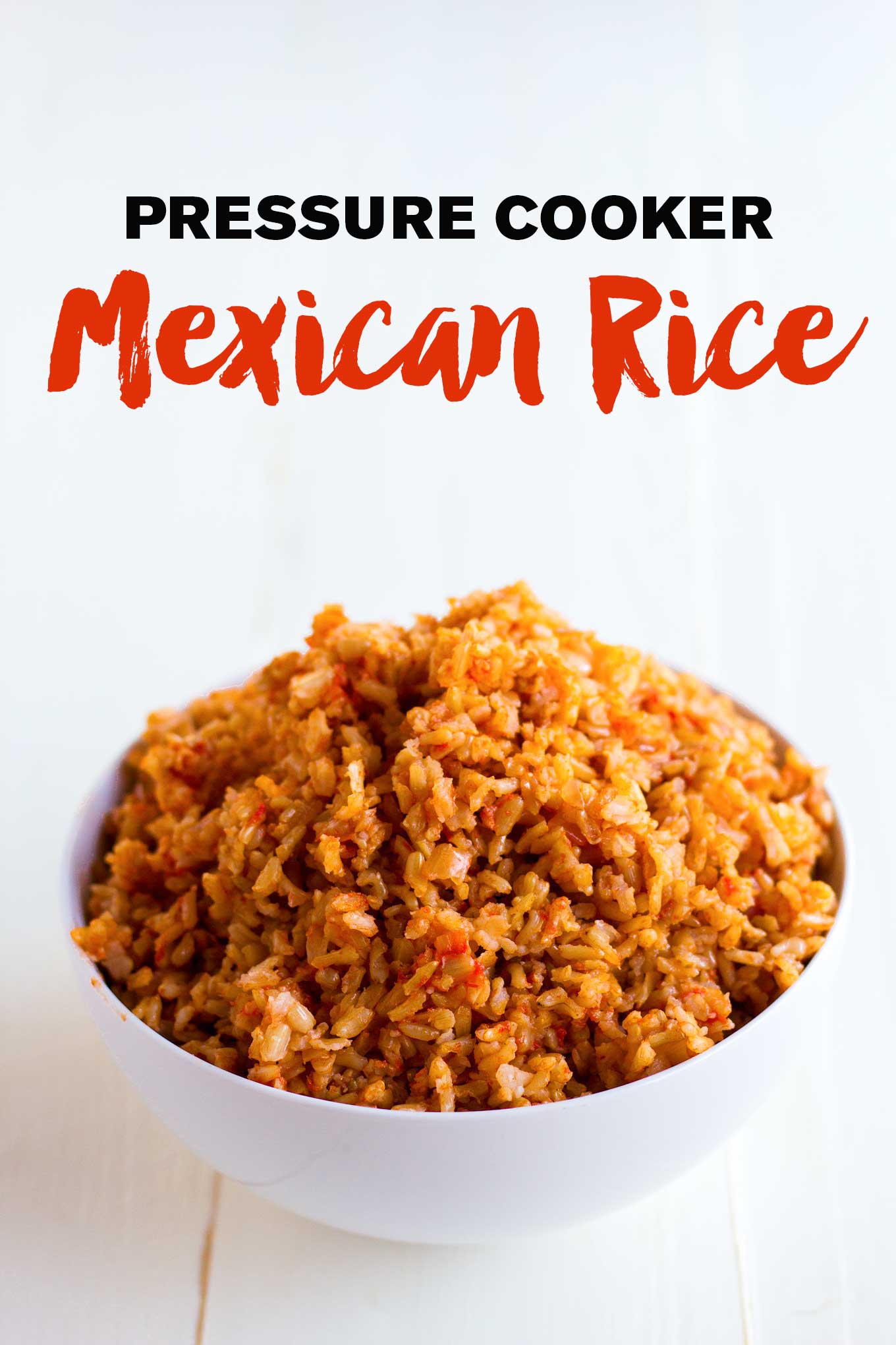 Make foolproof Mexican rice in a pressure cooker! Methods for brown and white rice included. Vegan, gluten-free. | https://passtheplants.com