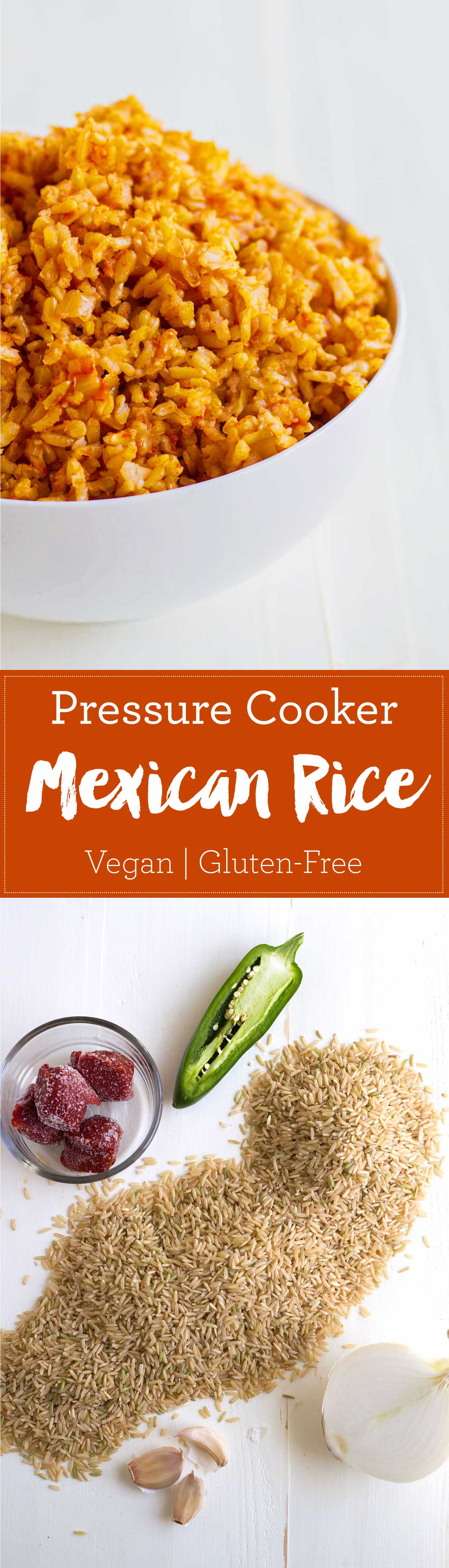 Make foolproof Mexican rice in a pressure cooker! Methods for brown and white rice included. Vegan, gluten-free. | http://eatwithinyourmeans.com