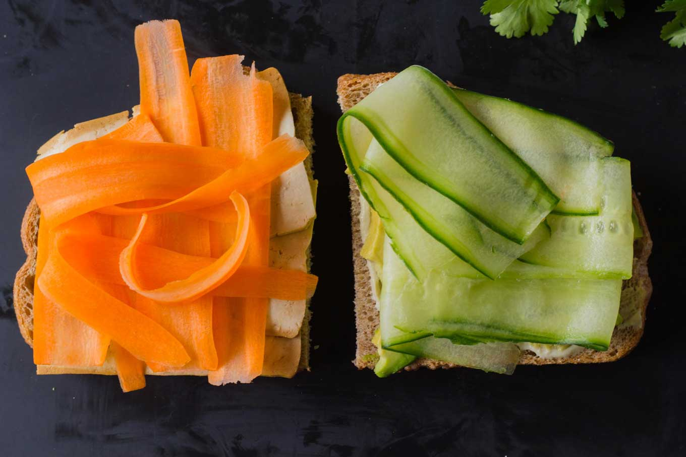 Tofusion Vegetable Sandwich - Asian flavors converge in this surprisingly delicious sandwich! Make lunch more adventurous! Vegan, Oil-free | https://eatwithinyourmeans.com