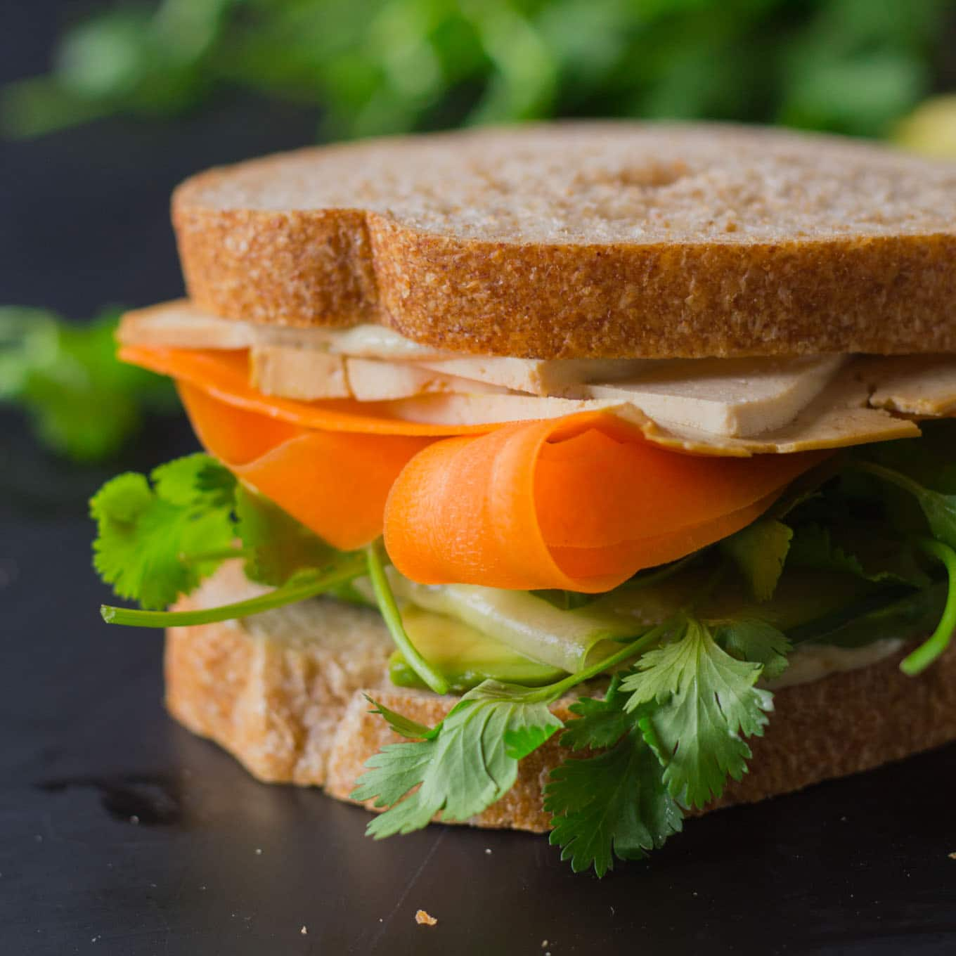 Tofusion Vegetable Sandwich - Asian flavors converge in this surprisingly delicious sandwich! Make lunch more adventurous! Vegan, Oil-free | http://eatwithinyourmeans.com