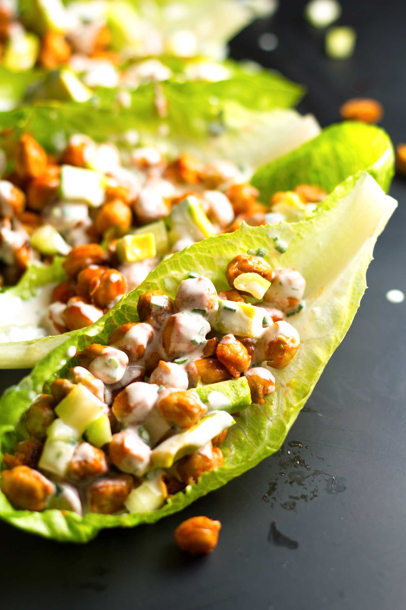 Buffalo Chickpea Lettuce Cups with Vegan Ranch Dressing | Oil-Free | https://passtheplants.com