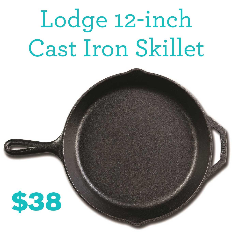 5 Kitchen Essentials Under $50   Lodge 12-inch Cast Iron Skillet   https://eatwithinyourmeans.com