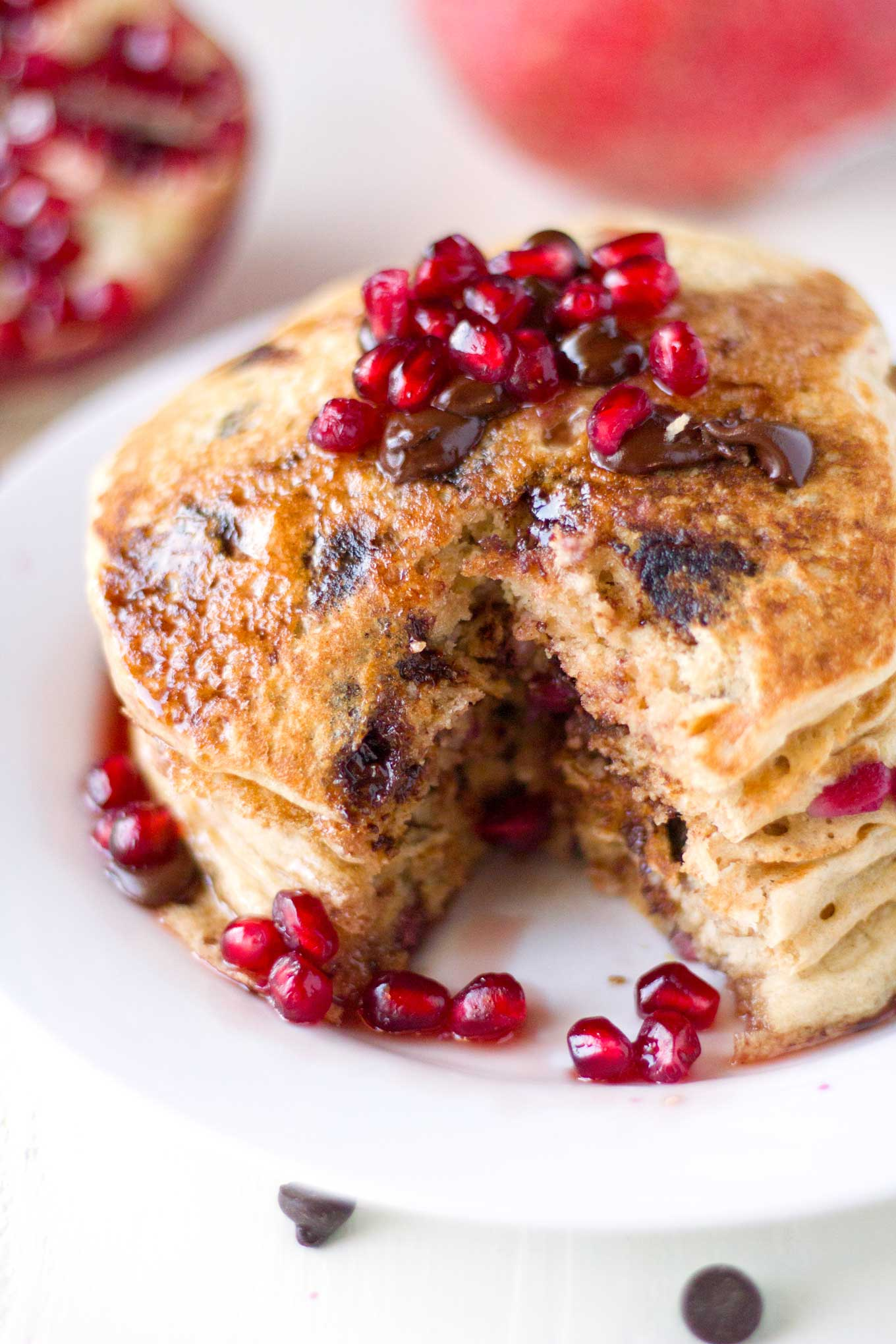 Pomegranate Chocolate Chip Pancakes | Eat Within Your Means