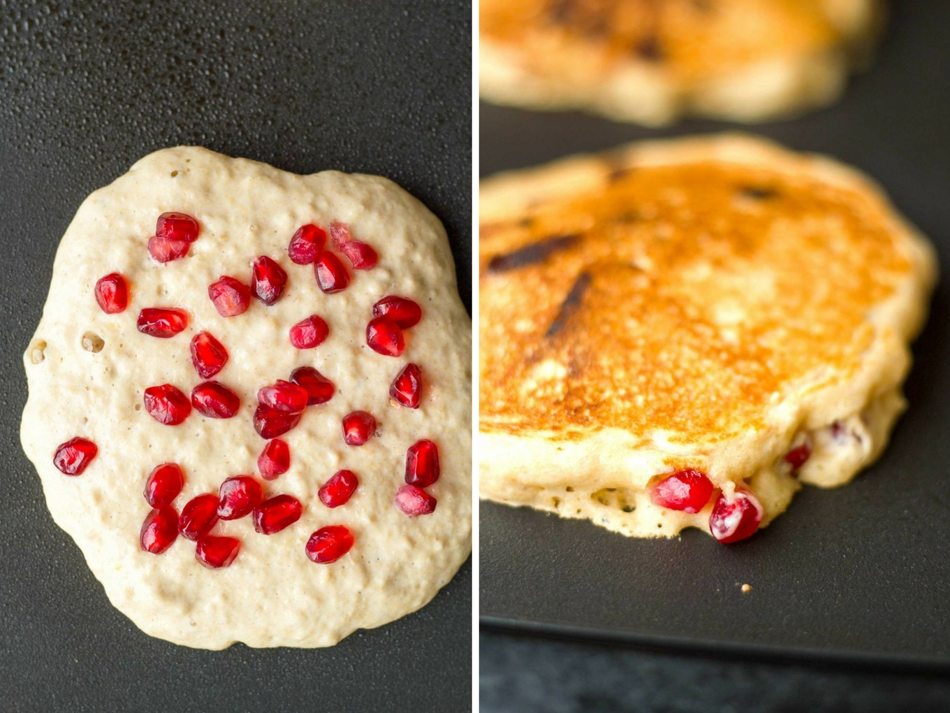 Pomegranate Chocolate Chip Pancakes with Pomegranate Syrup | Vegan, Oil-free, amazingly delicious! | https://eatwithinyourmeans.com