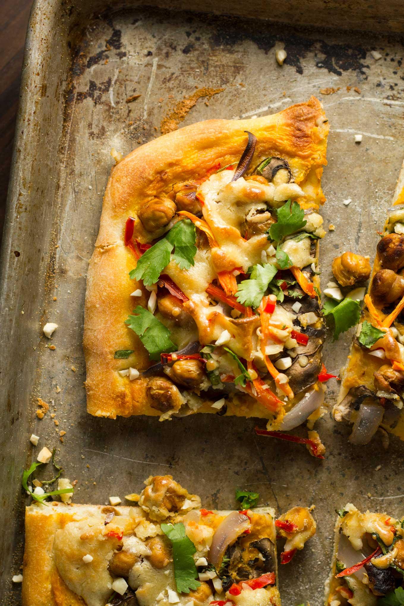 Vegan Thai Chickpea Pizza with Sweet Potato Peanut Sauce | http://eatwithinyourmeans.com