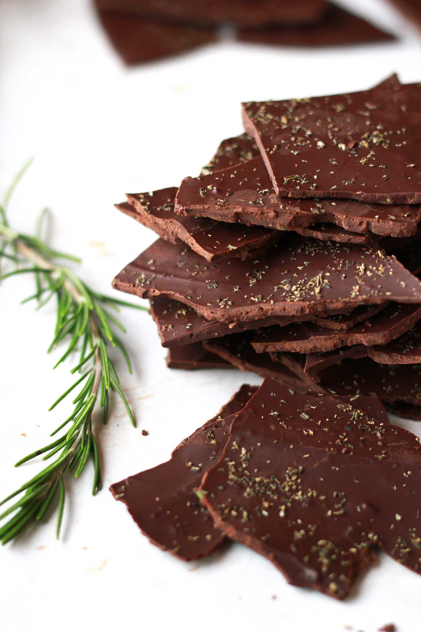 Rosemary Chocolate Bark | Vegan, Dairy-free, oil-free, quick and easy holiday treat | http://eatwithinyourmeans.com