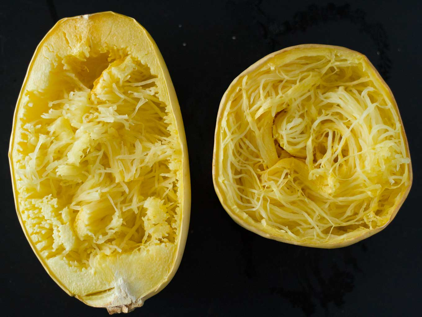 "How to cook spaghetti squash that actually looks like spaghetti! Foolproof method for perfectly long spaghetti squash ""noodles"" that have a wonderful texture as well! 