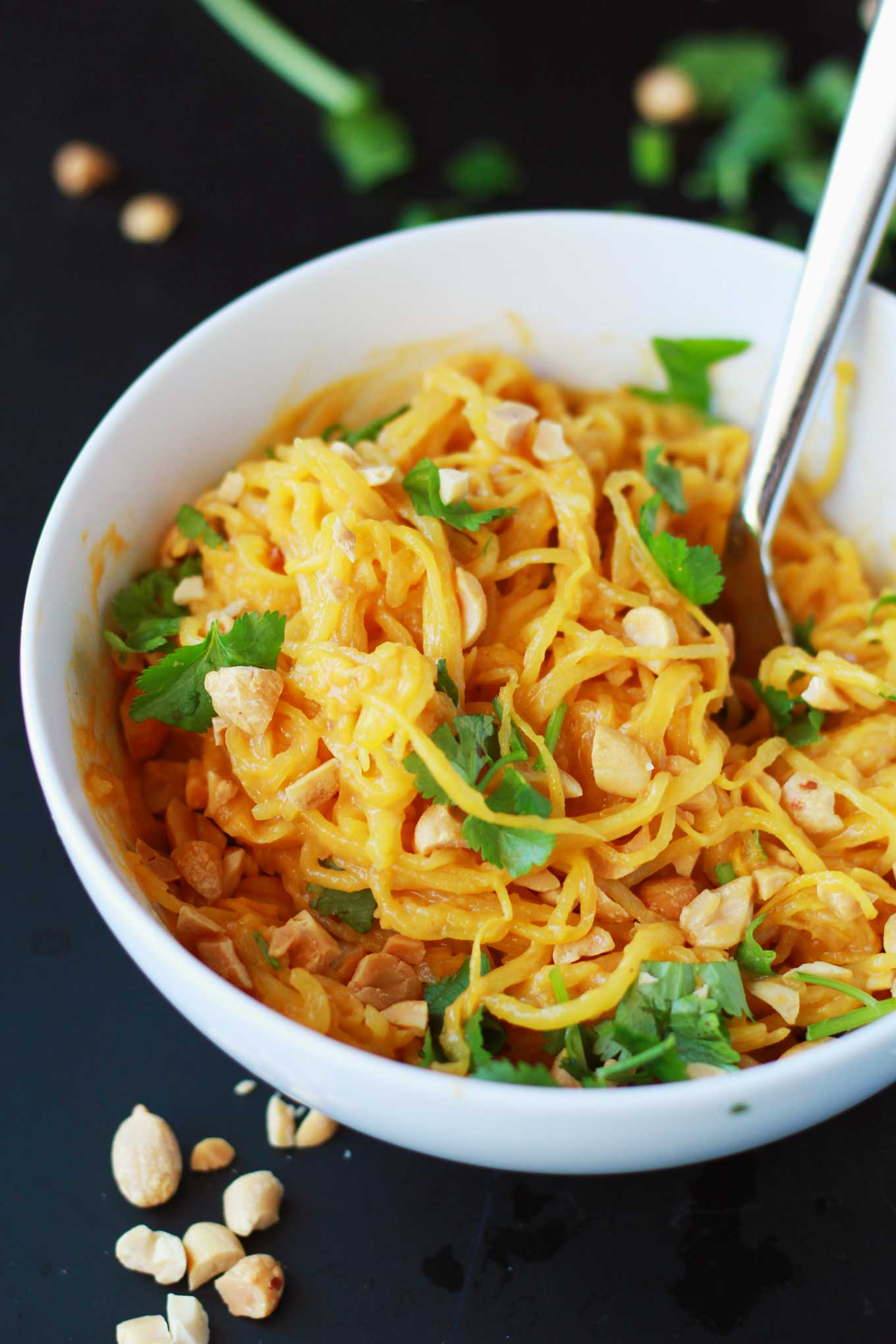 Spaghetti Squash Peanut Noodles | Vegan | Plant-based | WFPB | Gluten-free | Oil-Free | Recipe | https://passtheplants.com/