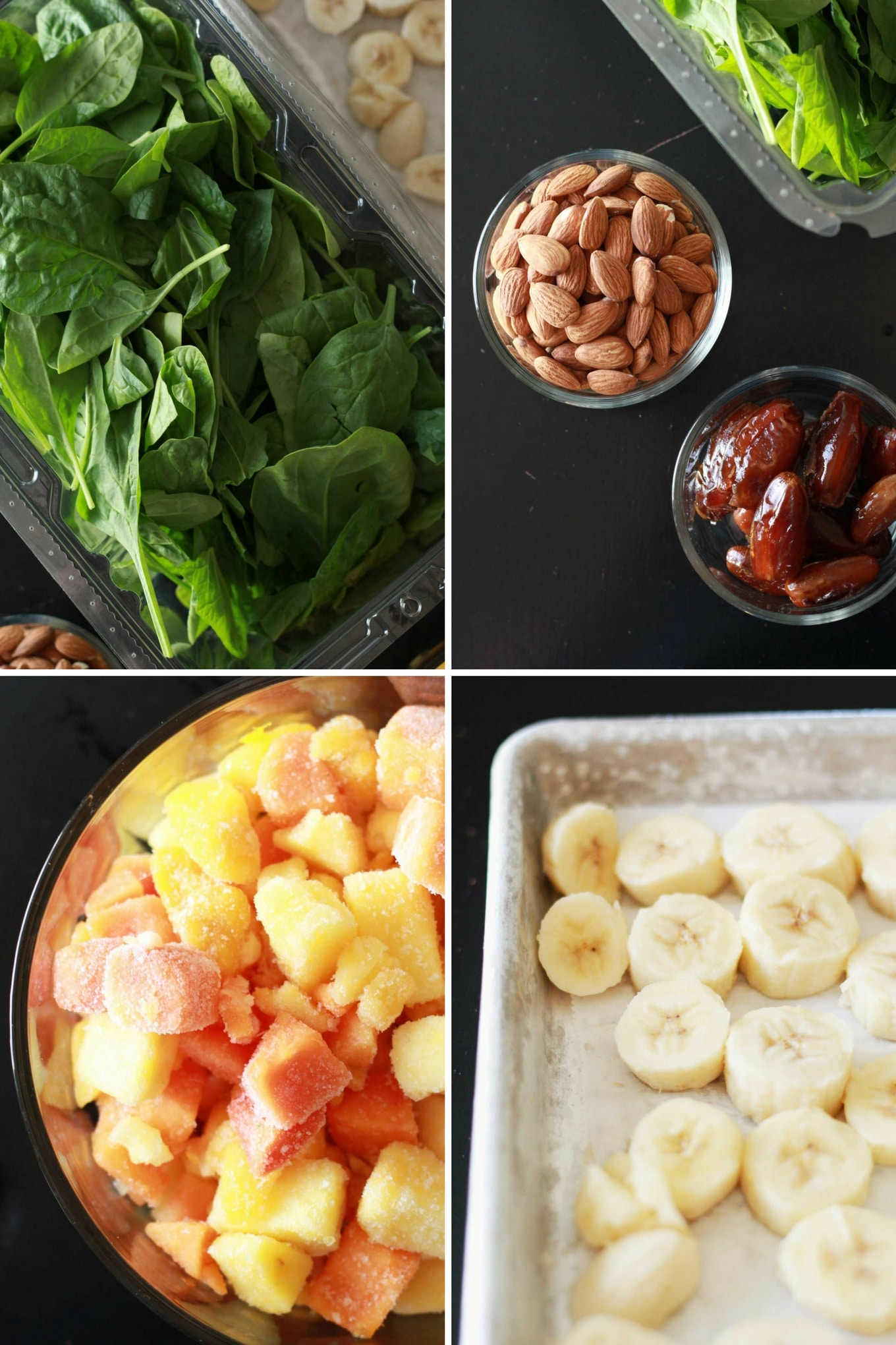 Perfect Green Smoothie | Smoothie ingredients displayed in collage = baby spinach, raw almonds, dates, frozen tropical fruit mix, frozen bananas | Vegan green smoothie recipe | https://eatwithinyourmeans.com/