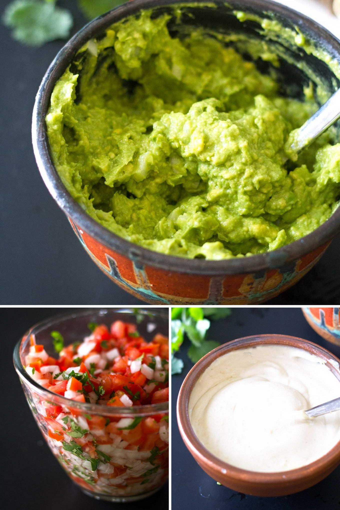 Ultimate Vegan Fajitas | Toppings such as guacamole, pico de gallo, savory cashew cream | https://eatwithinyourmeans.com/