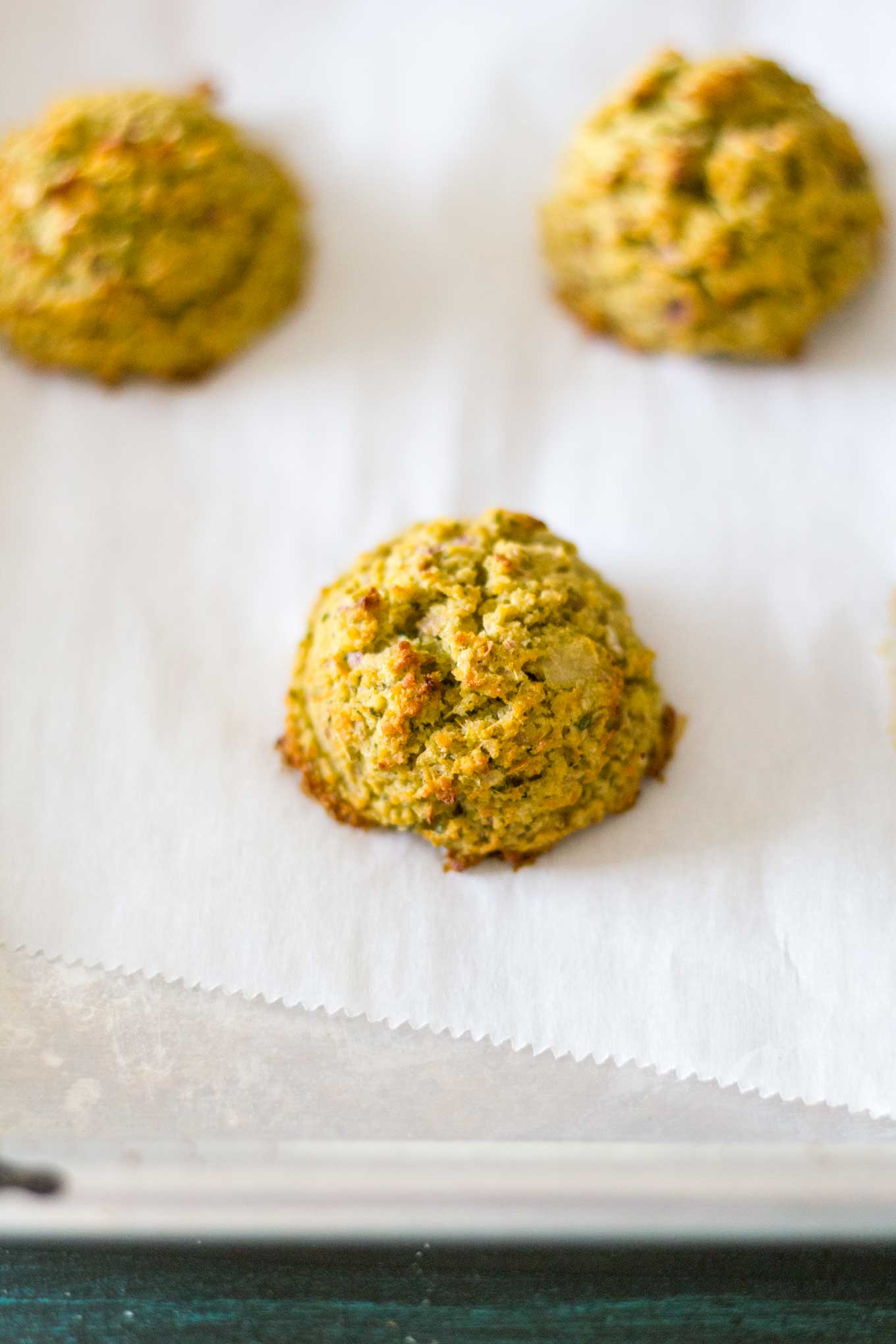 Oven-Baked Falafel on baking sheet after baking | Plant-based | Oil-free | Vegan | Gluten-free | https://passtheplants.com/