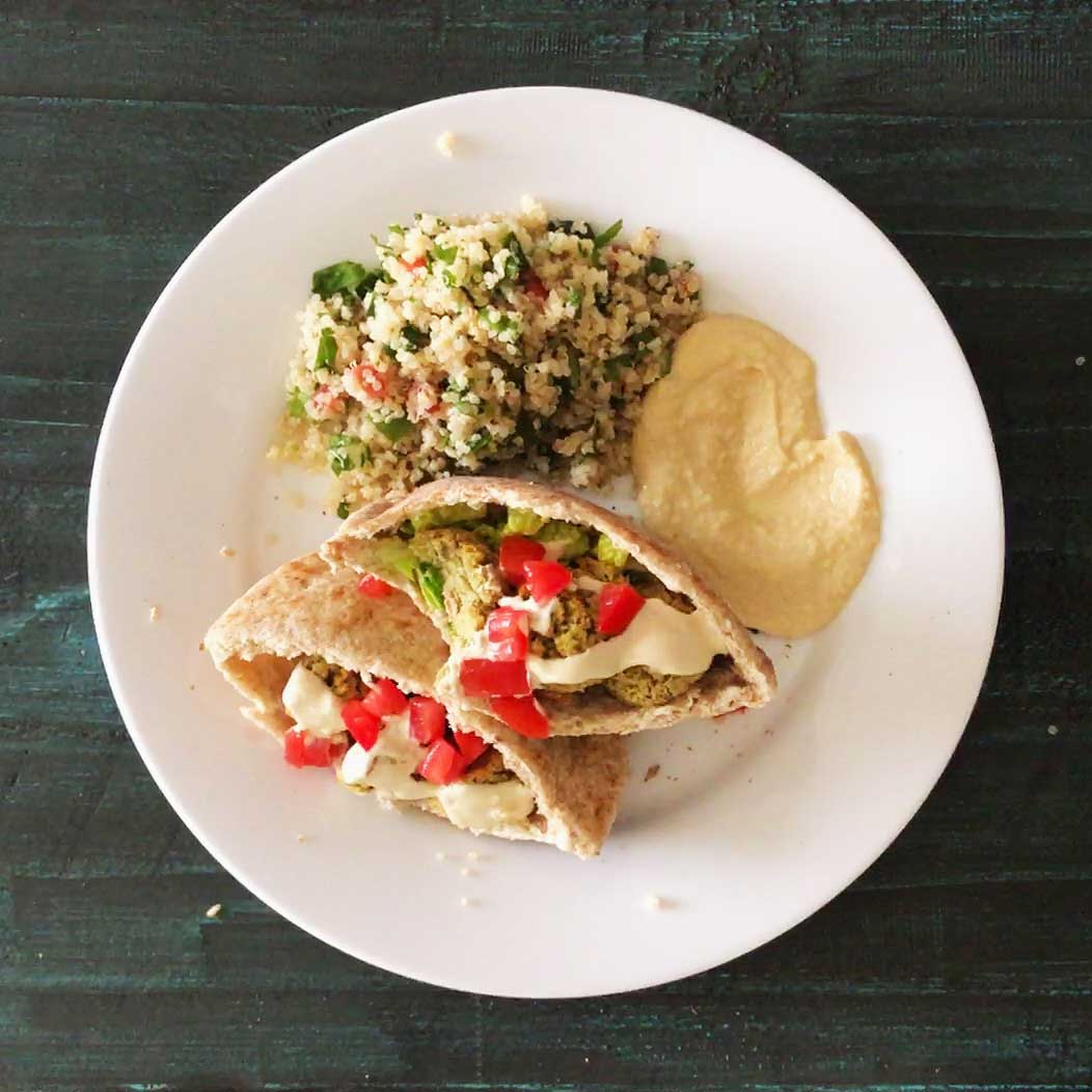 Oven-Baked Falafel in pita pockets with hummus and quinoa tabouli salad | Plant-based | Oil-free | Vegan | Gluten-free | https://passtheplants.com/