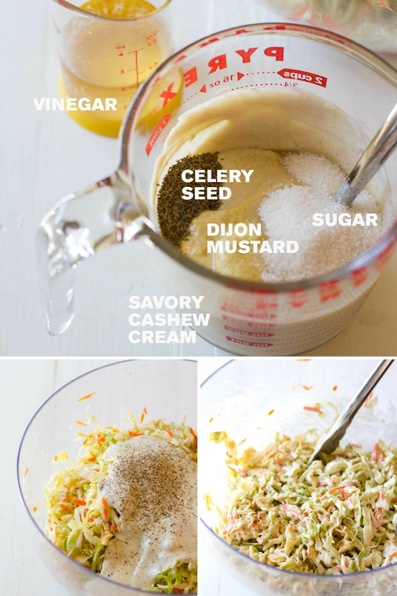 Perfect Vegan Coleslaw | collage of coleslaw dressing ingredients and dressing being tossed with vegetables | Plant-based | Oil-free | https://passtheplants.com/