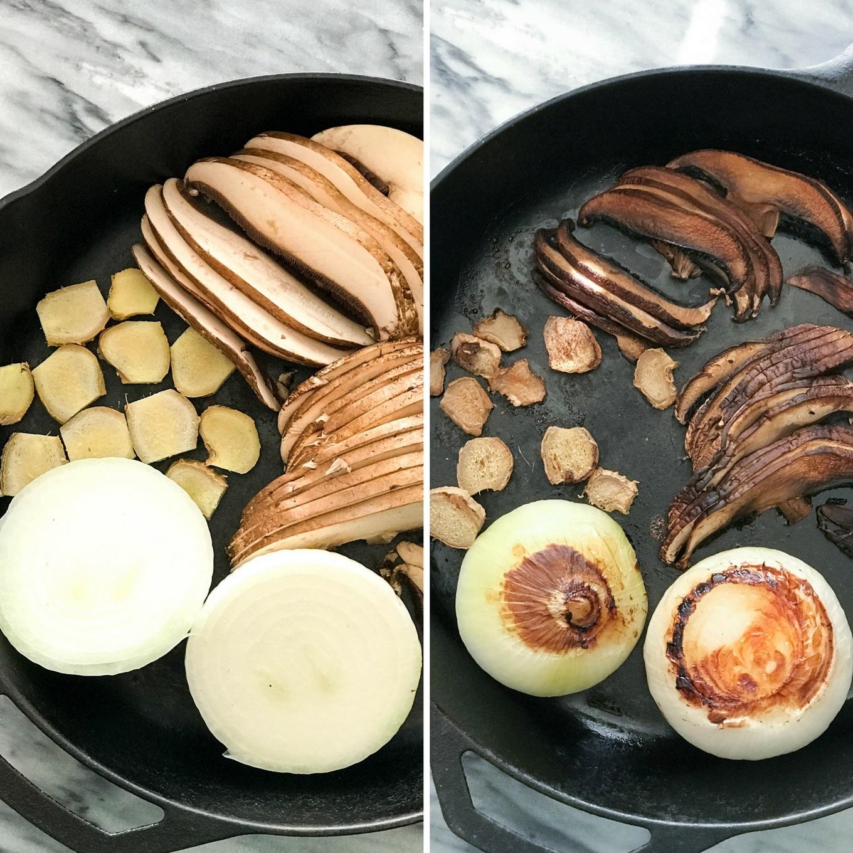 Spaghetti Squash Vegan Pho - Onion, ginger, mushroom, roasted in a cast iron skillet   https://eatwithinyourmeans.com/