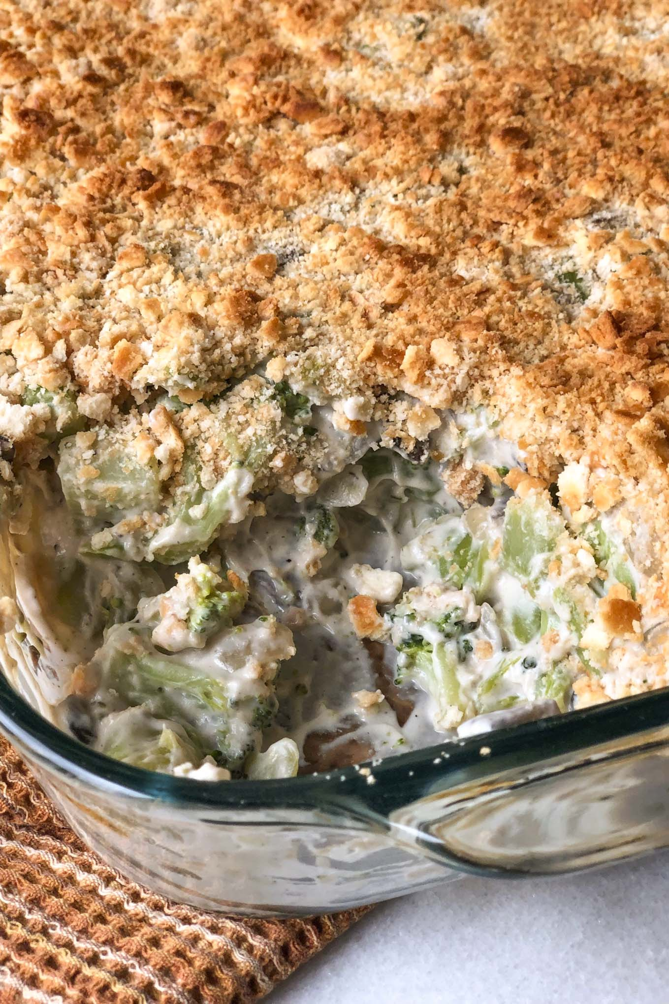 Skip the canned cream of mushroom soup and make this classic broccoli casserole plant-based! Creamy, hearty, comforting, and so flavorful! #vegan #plantbased #recipe #broccoli #casserole #wfpb #oil-free