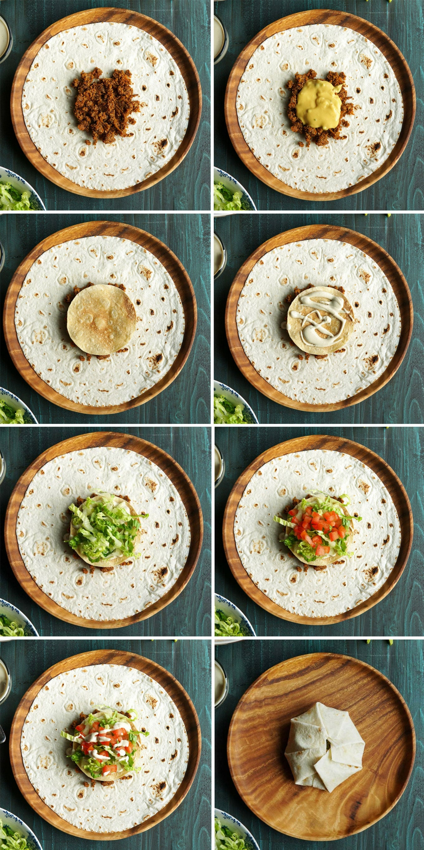 Step-by-stop photo tutorial for how to assemble a vegan crunchwrap supreme