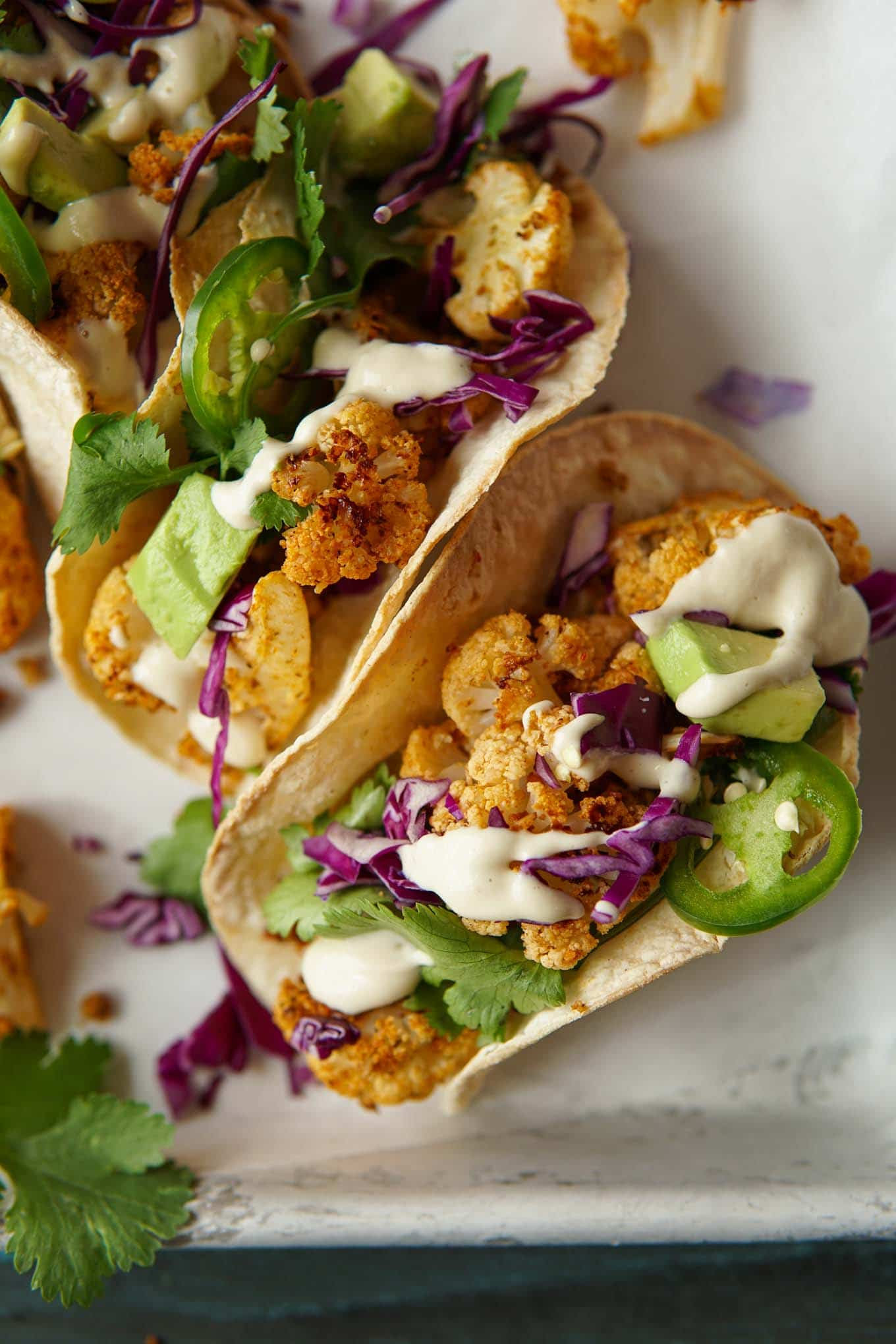 Close-up of chipotle cauliflower tacos