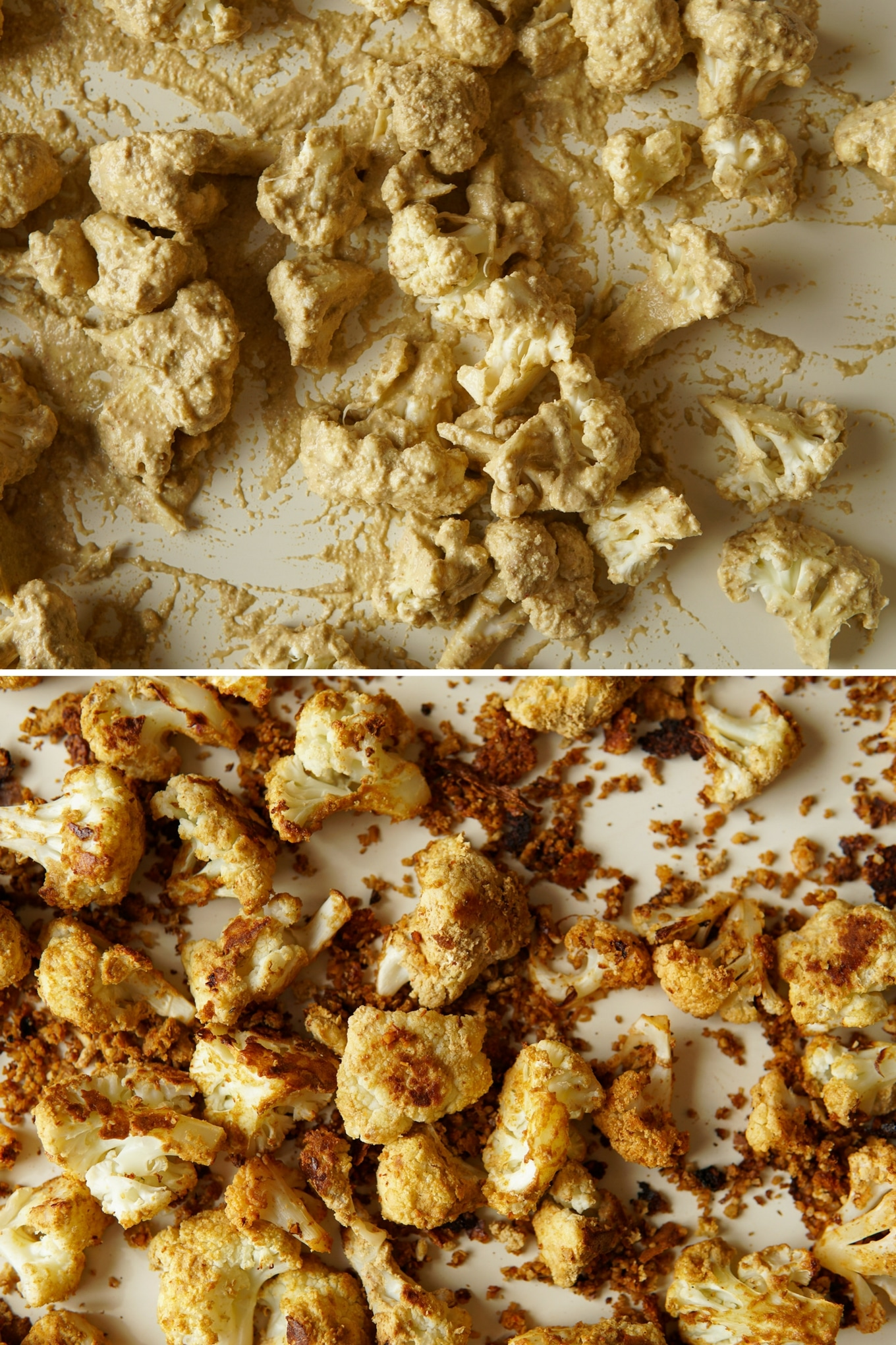 cauliflower battered with pepitas and chipotle puree, then baked until crispy