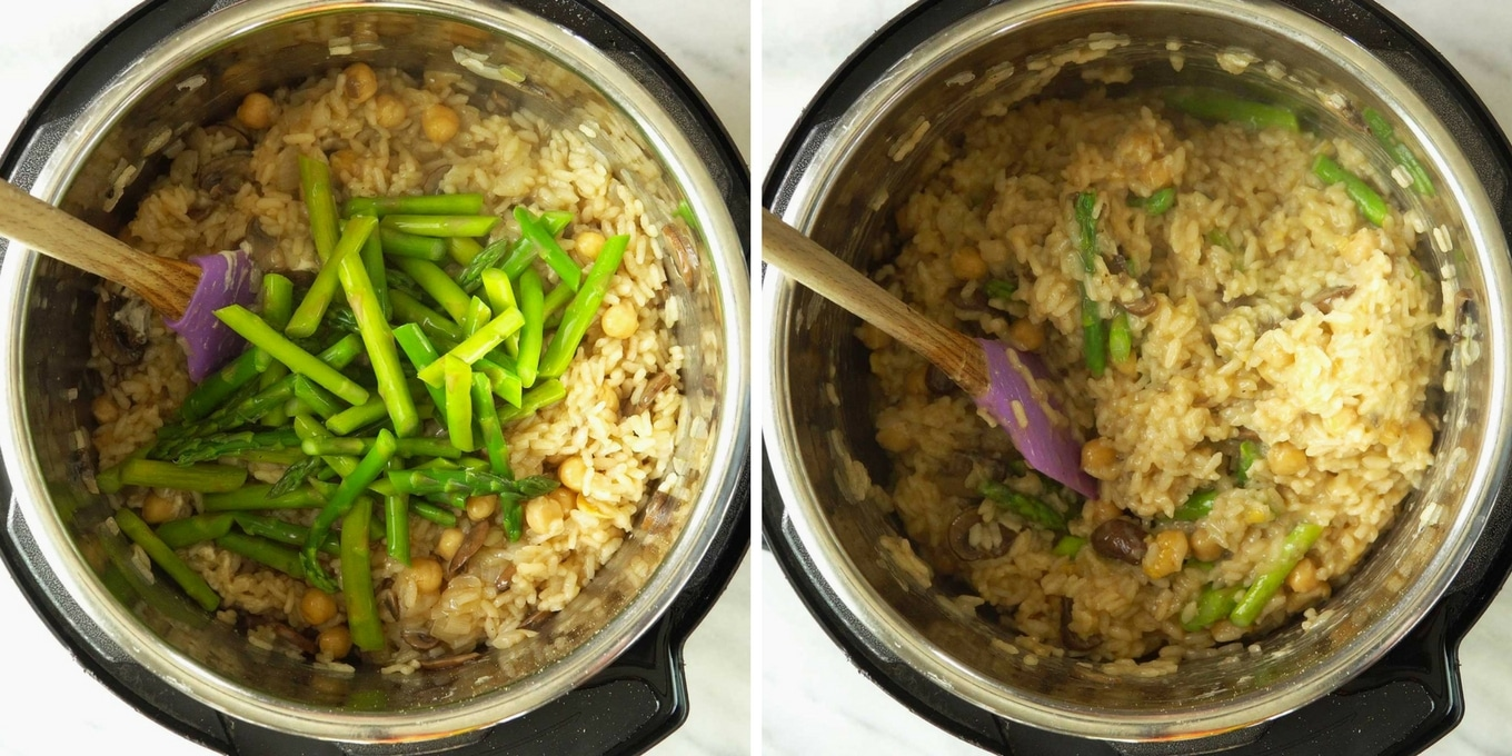 Photo collage of step-by-step photos for how to make Instant Pot Vegan Spring Risotto